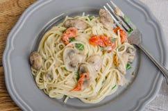 Vermecilli pasta på grå färgplattan Arkivbilder