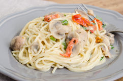 Vermecilli pasta på grå färgplattan Royaltyfri Bild