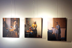 Vermeer centre, Delft - Netherlands. DELFT, NETHERLANDS - APRIL 2: Pictures of Johannes Vermeer in Vermeer centre in Delft on April 2, 2014 in Delft stock image