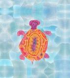 vermelha för sköldpadda för hav för bahia brazil coroaö grafiskt arbete som dras royaltyfri fotografi
