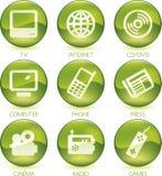 Vermelho ajustado do ícone dos multimédios (vetor) Imagem de Stock Royalty Free