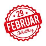 Vermelho alemão de Schalttag 29 Februar Stempel em um fundo branco Ilustração Royalty Free