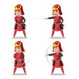 Vermelho Armor Character Vetora do samurai de Japão ilustração do vetor
