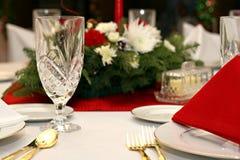 Vermelho, branco, ajuste da tabela do ouro Imagem de Stock