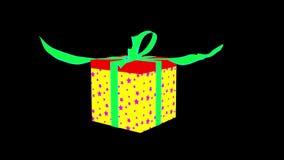 Vermelho - caixa de presente de prata da estrela com abertura da fita azul video estoque