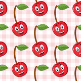 Vermelho Cherry Seamless Pattern dos desenhos animados Fotos de Stock