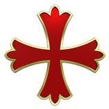 Vermelho com cruz heráldica do frame do ouro Fotografia de Stock Royalty Free