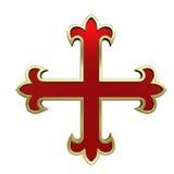 Vermelho com cruz heráldica do frame do ouro Fotografia de Stock