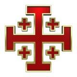 Vermelho com cruz heráldica do frame do ouro Imagens de Stock Royalty Free
