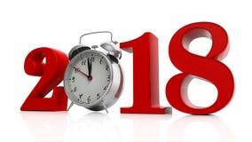 Vermelho 2018 com o despertador no fundo branco ilustração 3D Imagens de Stock