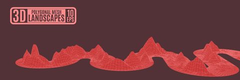 Vermelho como uma fita da serpente que contorce-se de dor montanhas poligonais Fotos de Stock