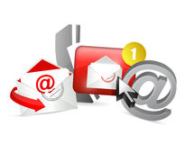 vermelho contacte-nos conceito do gráfico dos ícones Foto de Stock Royalty Free