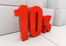 vermelho 3D 10 por cento Imagem de Stock Royalty Free