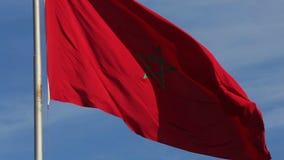 Vermelho da bandeira de Marrocos video estoque