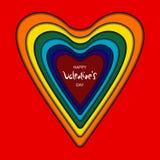 Vermelho da curva do coração do cartão ilustração royalty free