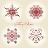 Vermelho da decoração do vintage dos flocos de neve do Natal Fotografia de Stock