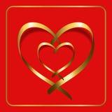 Vermelho 2 da fita do coração do ouro ilustração stock
