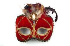 Vermelho da máscara do carnaval, no fundo branco Fotos de Stock Royalty Free