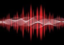 Vermelho da onda do equalizador da música ilustração stock