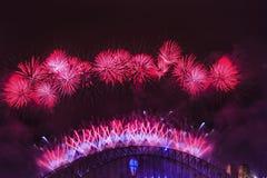 Vermelho da ponte de Sydney Fireworks NY foto de stock