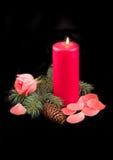 Vermelho da vela com flama Fotografia de Stock Royalty Free