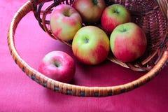 Vermelho de Apple na cesta cor-de-rosa do fundo Fotografia de Stock Royalty Free