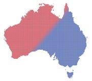 Vermelho de Austrália Dot Map In Blue And Fotos de Stock