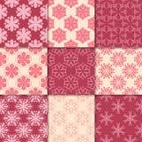 Vermelho de cereja e ornamento florais bege Coleção de testes padrões sem emenda Fotografia de Stock Royalty Free