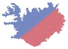Vermelho de Islândia Dot Map In Blue And Fotografia de Stock