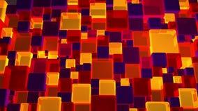 Vermelho de néon e Violet Lights Cubes Background In 4k filme