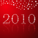 Vermelho do ano novo feliz dos flocos de neve Imagem de Stock Royalty Free