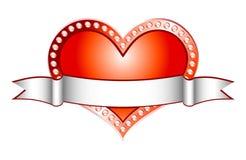 Vermelho do coração com linha branca (vetor) Fotografia de Stock Royalty Free