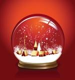 Vermelho do globo da neve do vetor Fotografia de Stock