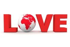 Vermelho do mundo do amor Foto de Stock Royalty Free