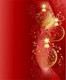 Vermelho do Natal e fundo do ouro Foto de Stock Royalty Free