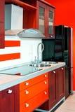 Vermelho do ângulo da cozinha Fotografia de Stock