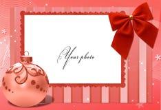 Vermelho do quadro com esfera do Natal Fotografia de Stock