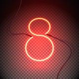 Vermelho do sinal oito de néon Imagens de Stock Royalty Free