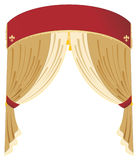 Vermelho do vetor e cortina do ouro Imagens de Stock Royalty Free