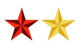 Vermelho do vetor e estrelas do ouro Ilustração Stock