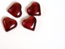 Vermelho dos corações quatro Imagens de Stock