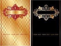 Vermelho e bandeira ornamentado do ouro. Fotografia de Stock Royalty Free