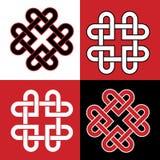 Vermelho e blabk celtas dos corações do nó Imagem de Stock