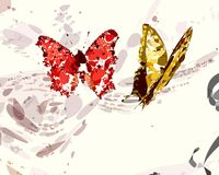 Vermelho e borboletas do ouro Fotos de Stock Royalty Free