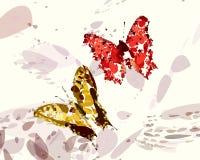 Vermelho e borboletas do ouro Imagem de Stock