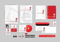Vermelho e branco com molde da identidade corporativa do triângulo para seu negócio E Imagens de Stock