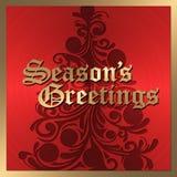 Vermelho e cartão de Natal do ouro Fotografia de Stock Royalty Free