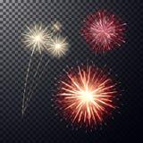 Vermelho e claro - fogo de artifício amarelo no fundo transperent Fotografia de Stock Royalty Free
