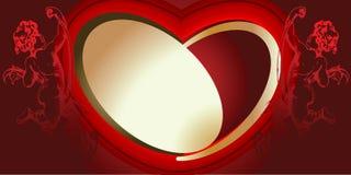 Vermelho e Cupids e coração do ouro ilustração stock