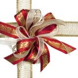 Vermelho e curva do Natal do ouro Foto de Stock Royalty Free